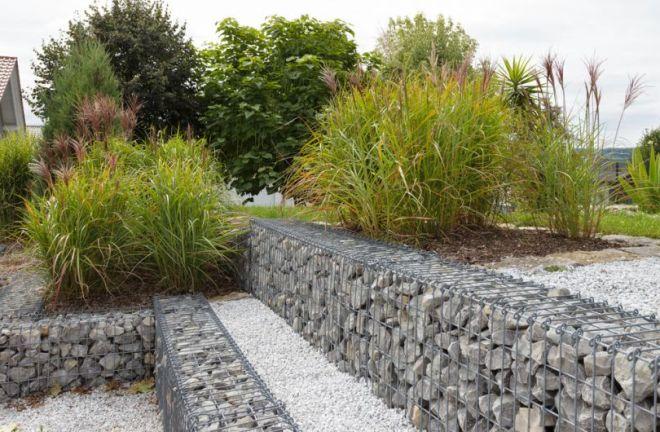 Садовые ограждения - фото Бордюры из габионов