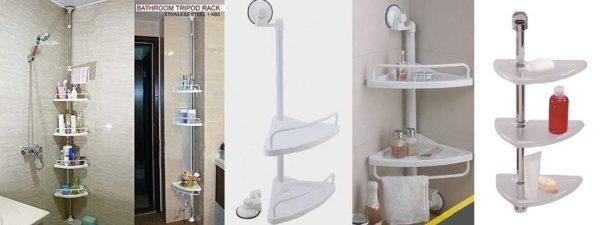 Полки для ванной комнаты - фото Угловые полки в ванную на штанге