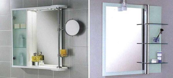 Полки для ванной комнаты - фото Полки для ванной комнаты с зеркалом: с основой и без нее
