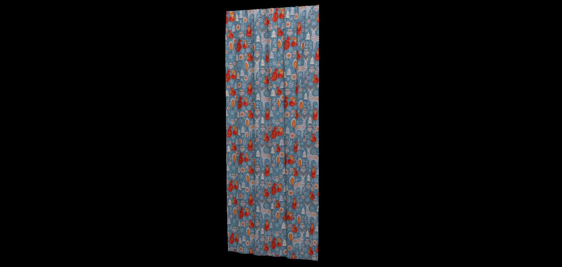 Ткань для штор, салфеток, подушек, скатертей Зима, животные красный на синем фоне - фото 08c75b256f5c148e54ab94c79741c080.png