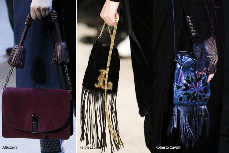 Модные сумки на сезон осень, зима . Новые тенденции - фото Сумки с болтающимися кисточками и бахромой - тенденции осень 2016, зима 2017