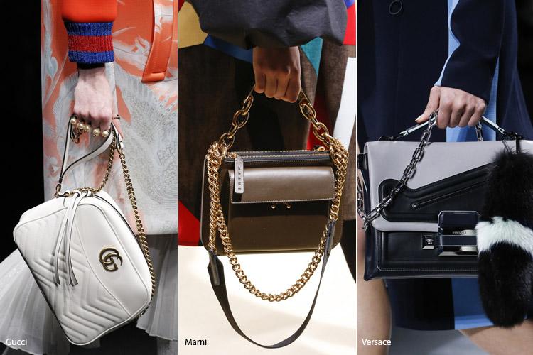 Модные сумки на сезон осень, зима . Новые тенденции - фото Сумки с железными цепочками - тенденции осень 2016, зима 2017