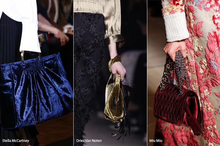 Модные сумки на сезон осень, зима . Новые тенденции - фото Бархатные сумочки - тенденции осень 2016, зима 2017