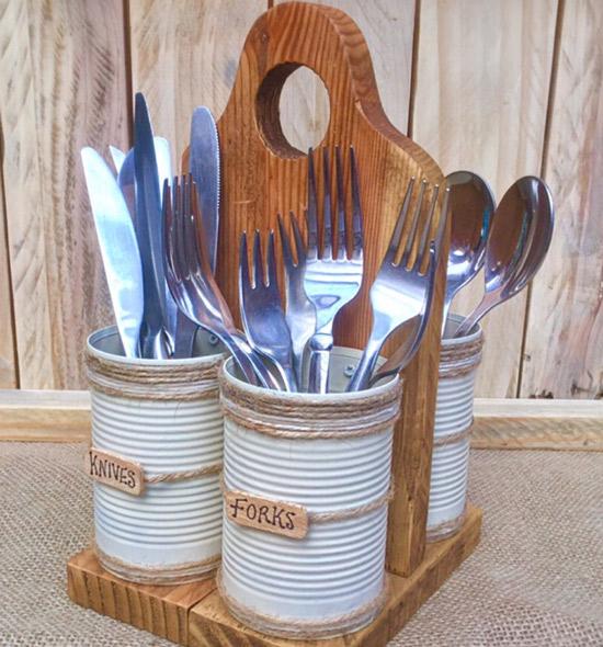 Подставка для столовых приборов - фото Деревянная для кухни