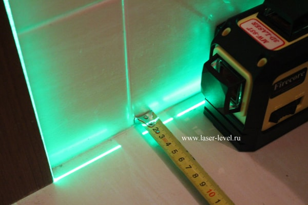 Firecore 3D зелёный - расстояние от стены