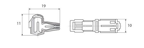10x Т-образный соединитель ответвитель проводов MT-2, 1.0-2.5мм2 15А - фото Размеры прокалывающего Т-образного ответвителя