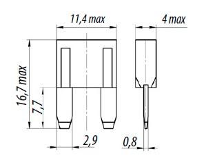 60х Предохранитель автомобильный мини 5А 10А 15А 20А 25А 30А, набор - фото Физические размеры автомобильного предохранителя типоразмера мини