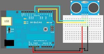 Ультразвуковой датчик расстояния, модуль Arduino - фото Схема подключения ультразвукового датчика расстояния к Arduino