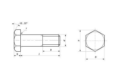 Болты высокопрочные DIN 6914 - фото Болты высокопрочные DIN 6914 - чертеж