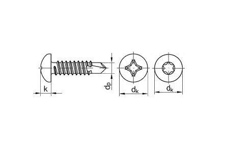 Саморезы DIN 7504m (DIN 7504n) из нержавейки - чертеж