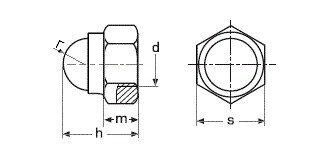 Гайка колпачковая DIN 986 самоконтрящяяся - чертеж