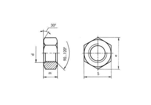 Шестигранная гайка ГОСТ 5915-70, ГОСТ 5927-70 из нержавеющих сталей А2 и А4 - чертеж