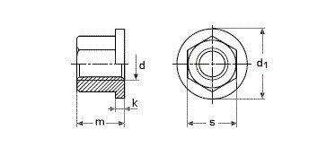 Высокая гайка с буртиком ГОСТ 8918-69, DIN 6331 - чертеж