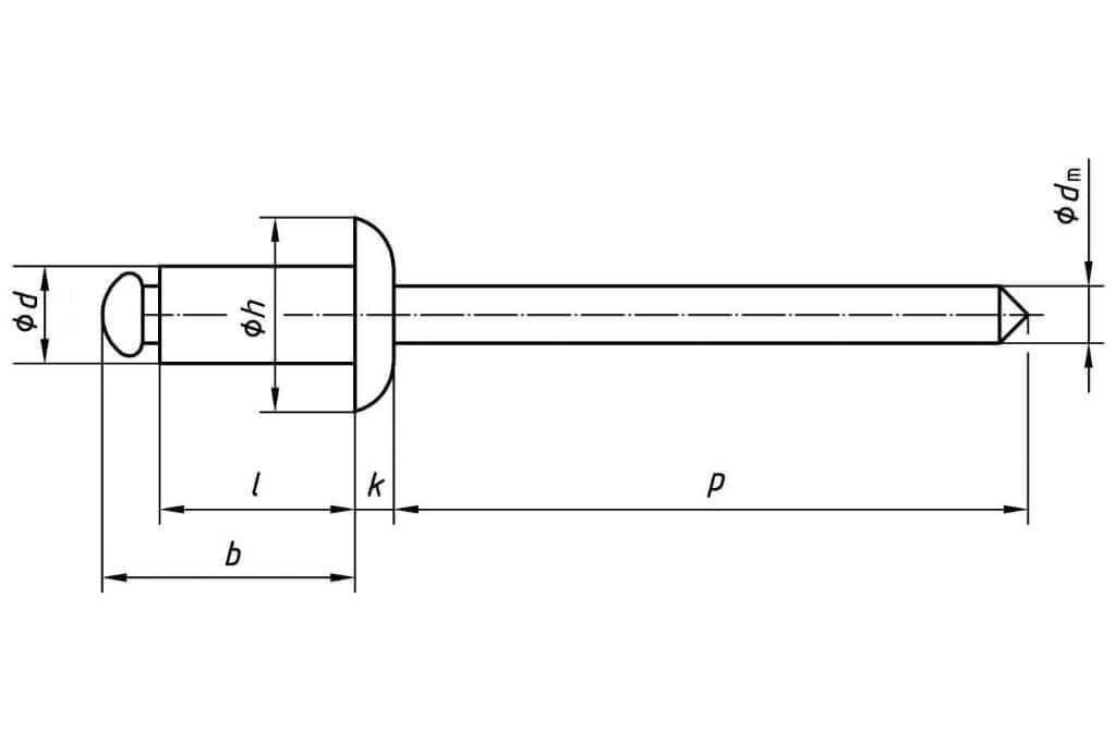 Заклепка DIN 7337 Ф4 потай из нержавейки - чертеж