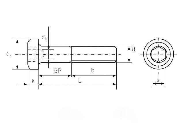 Винт М12 DIN 6912 с низкой цилиндрической головкой и внутренним шестигранником, класс прочности 8.8 - чертеж