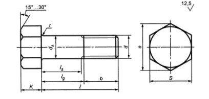 Болты с увеличенным размером под ключ - чертеж