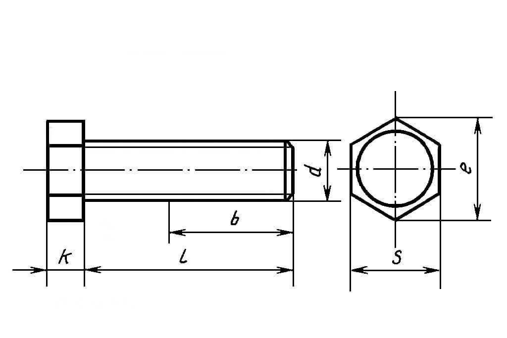 Болт М20 шестигранный ГОСТ 7798-70, ГОСТ 7805-70, DIN 933, DIN 931 из нержавеющей стали - фото Болт М20 шестигранный ГОСТ 7798-70, ГОСТ 7805-70, DIN 933, DIN 931 из нержавеющей стали - чертеж