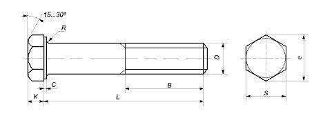 Болт М33 10.9 длиной от 100 до 300 мм, DIN 931, 933 - чертеж