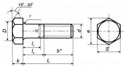 Болт высокопрочный М52 ГОСТ 10602-94 класс прочности 8.8 - чертеж