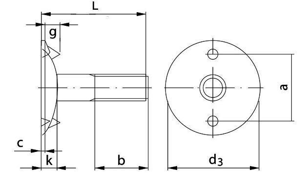Болт норийный DIN 15237 - фото Норийный болт чертеж