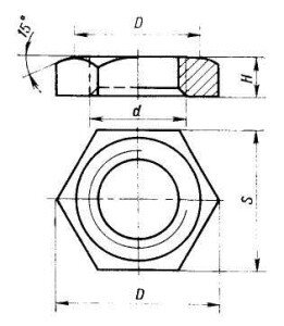 Контргайка латунная - фото Контргайка чертеж