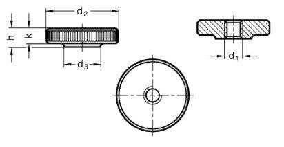 Нажимная гайка М3 DIN 467 - фото Нажимная гайка М3 DIN 467 - чертеж