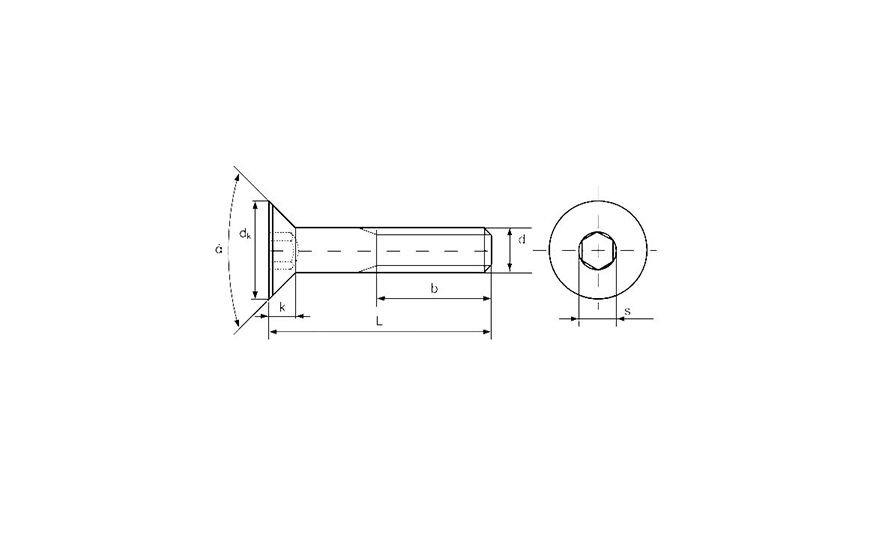 Винт М2 DIN 7991 с потайной головкой и шестигранным шлицем, класс прочности 10.9 - чертеж