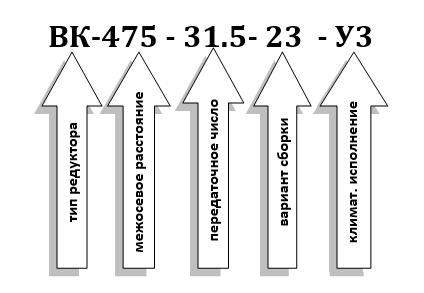 Условное обозначение редуктора ВК