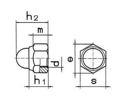 Гайка колпачковая М16 DIN  986 самоконтрящаяся, класс прочности 8.0 - фото Гайка колпачковая М16 DIN 986 самоконтрящаяся, класс прочности 8.0 - чертеж