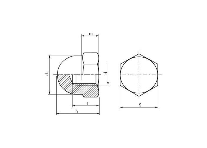 Гайка М14 DIN 1587 колпачковая, с мелким шагом резьбы, ГОСТ 11860-85, класс прочности 6.0 - фото Конструкция колпачковых гаек DIN 1587
