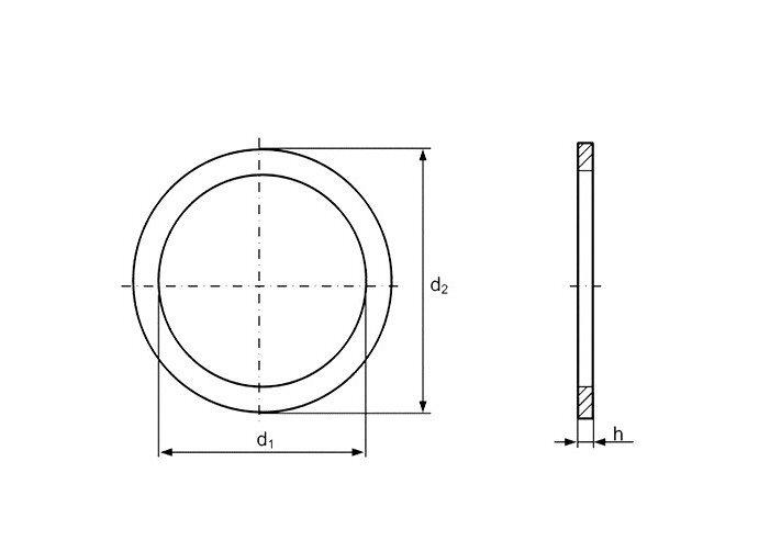 Шайба Ф22 DIN 988 - фото Конструкция шайбы DIN 988