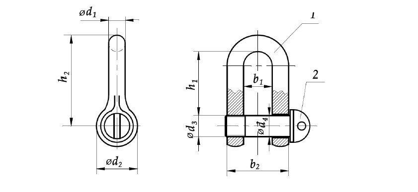 Скоба М60 DIN 82101 - чертеж
