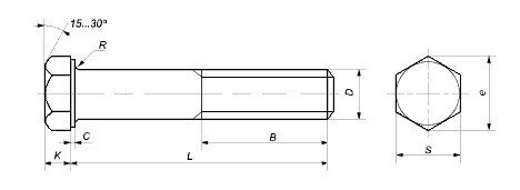 Болт М45 10.9 длиной от 130 до 300 мм, DIN 931, 933 - чертеж