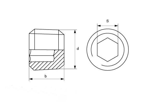 Заглушка  М8x1 DIN 906 - фото Заглушка М8x1 DIN 906 - чертеж