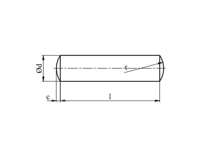 Штифт Ф2,5 DIN 7, ГОСТ 3128 цилиндрический - фото Конструкция штифта DIN 7