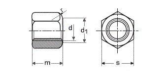 Гайка М22 высокая шестигранная ГОСТ 15523-70, DIN 6330 - чертеж