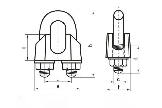 Зажим для троса Ф3 DIN 741 - чертеж