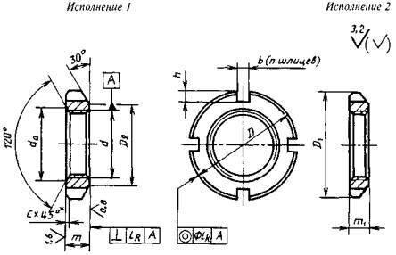 Гайки круглые шлицевые ГОСТ 11871-88, DIN 981 - чертеж