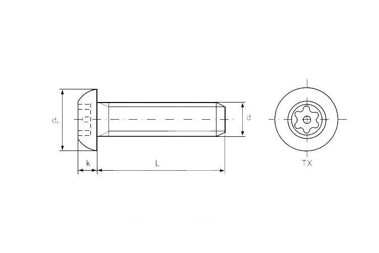 Винт М5 ГОСТ 28963-91, DIN 7380, ISO 7380 с полукруглой головкой, класс прочности 10.9 - фото Конструкция винта DIN 7380