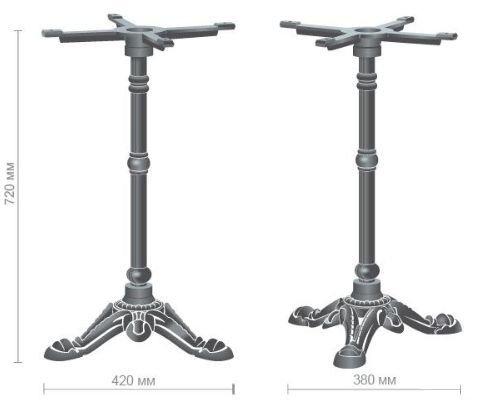 База Анталия (TT110) Черный. Опора для стола. База для стола. Основа для стола. Подстолья из чугуна. - фото База Анталия Спецификация