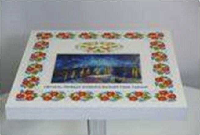 Столешница для стола шпонированная круглая Сакура  Д 60 см. Круглая столешница. - фото Столешница срисунком