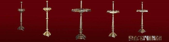 Напольный подсвечник на 62 свечи с 3 лампадками - фото церковные подсвечники