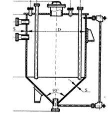 Вертикальные емкостные аппараты с нижним коническим и верхним плоским днищем (ВКП) - фото Емкостное оборудование вертикальное