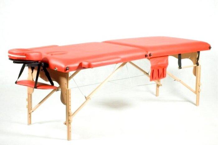 Массажный стол двухсегментный Body Fit, кушетка деревянная, стол для массажа (Красный) - фото 1