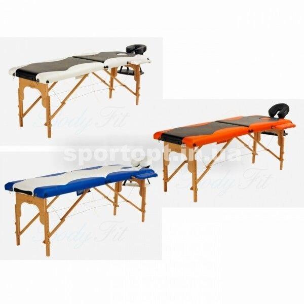 Массажный стол профессиональный Body Fit, кушетка деревянная, 2-х сегментный стол для массажа (Бело-синий) - фото 3