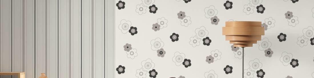 Комплект стильных детских флизелиновых черно белых обоев