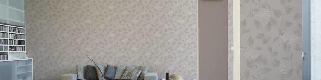 Комплект виниловых обоев на флизелиновой основе с серо бежевыми бабочками