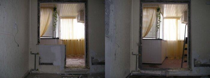 демонтаж выход на балкон