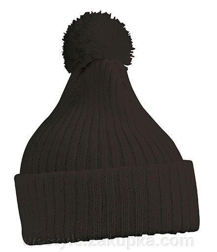 Вязаная шапка с помпоном - чёрный/красный mb7540 - фото master_6.jpg