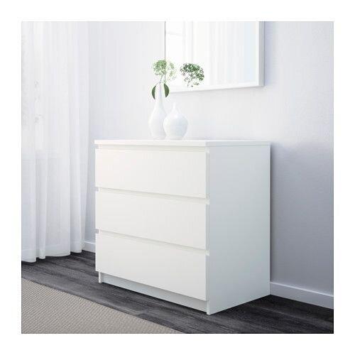 """IKEA """"МАЛЬМ"""" Комод с 3 ящиками, белый - фото 1"""